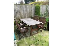 Garden patio wooden table