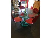 Glass table + 4 Chairs + FREE DELIVERY