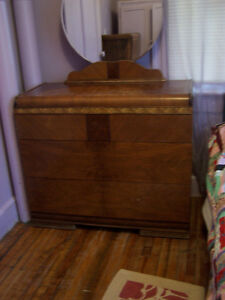 Antique dresser with mirror $50.00 and tall boy $40.00