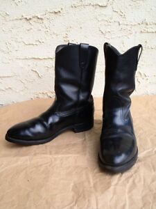 EUC Mens Black Leather Western Boots Williams Lake Cariboo Area image 1