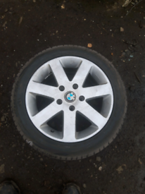 """2 16"""" BMW 320 5 stud alloy wheels and tyres good condition"""