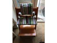 Stokke trip trapp with first seat backrest, harness and leg strap with next size up waist bar