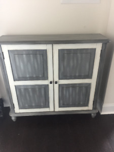 Grey and White Rustic Armoire w 2 shelves