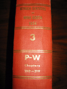 1954 Revised Statutes of Nova Scotia 3 P-W = VERY RARE BOOK!