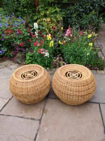 Pair of matching wicker pouffes (footstool pouffe)
