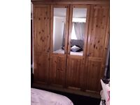 Stunning quality solid pine 4 door wardrobe