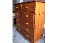 6 drawer pine set of drawers