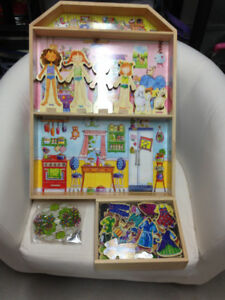 Doll house, magnetic clothes