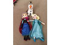 Anna, elsa and Olaf plush dolls