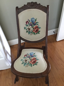 Heirloom petit point rocking chair