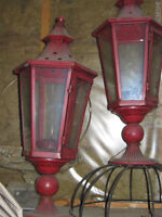 Set of 2 RED Metal & Glass Candle Lanterns for Sale