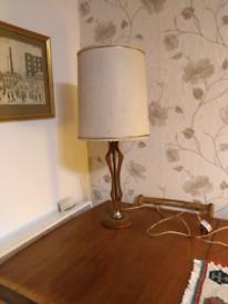 60 retro Danish teak table lamp with original lampshade