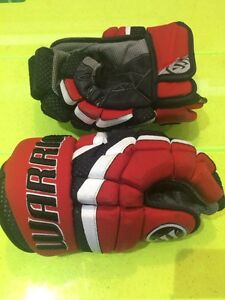 "Men's Boys 13"" Warrior Hockey Gloves Black Red Peewee Bantam"