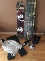 Snowboard complete set. Used ONCE, mint condition. WOMANS.