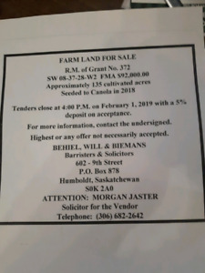 farm land for sale by tender