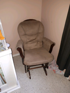 Gliding chair with matching gliding ottoman