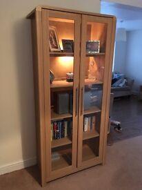 Hygena strand glass cabinet with back light