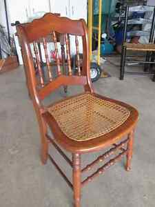 Solid wood chair with authentic caned seat