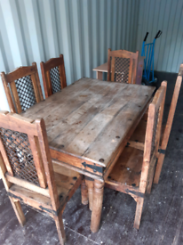 Solid wood table and 6 chairs