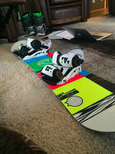 Junior snowboard, boots, bindings and helmet for sale