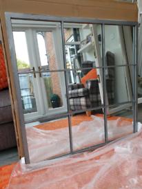 Stunning rustic silver grey metal industrial window mirror