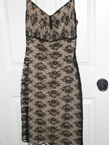 Nude colored dress with black lace overlay