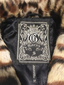 GUESS Leopard Genuine Real RABBIT FUR VEST w/ Leather, Size S London Ontario image 10
