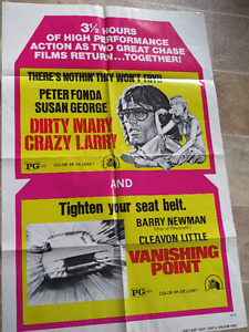 Vanishing Point / Dirty Mary, Crazy Larry Vintage Movie Poster