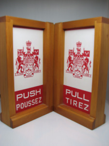 Vintage Canada Post office door bookends push pull $50