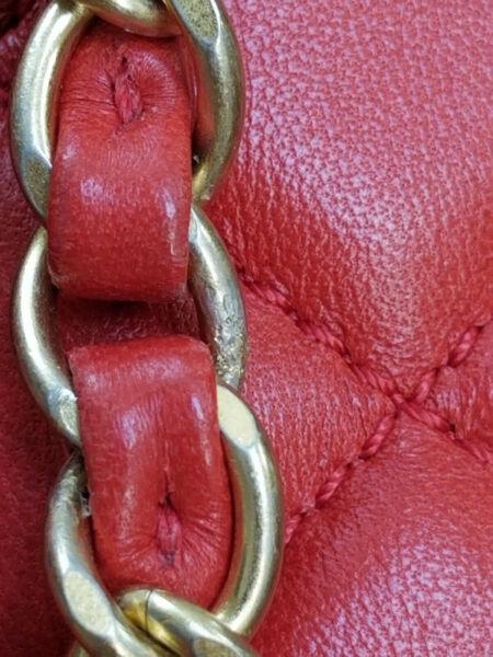 Chanel red single flap in lambskin