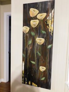New Floral Artwork  on Wood, Great Gift