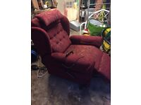 Riser and Recliner arm chair , Willowbrook in red.
