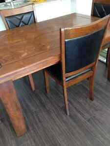 CorLiving Dining set extendible table 4 black leather chairs