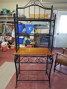 Wrought Iron and wood Bakers Rack