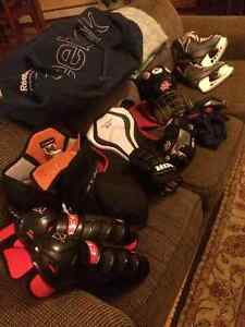 Hockey gear- helmet, pads, pants, gloves 11-12 yr old