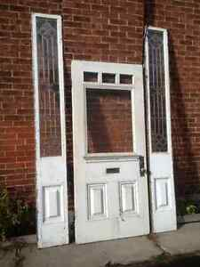 1885 Door with Side Light Leaded Glass