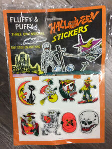Vintage Fluffy Puffy Halloween 8 Sticker Pack horreur 80's