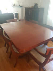 Vintage oak dining table with 6 chairs and buffet - $600