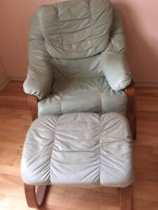 Leather Recliner and Ottoman For Sale