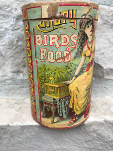 ANTIQUE CANARY BIRDS FOOD RETAIL CONTAINER GREAT GRAPHICS
