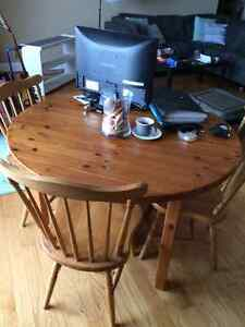 Pine Table with Three Chairs