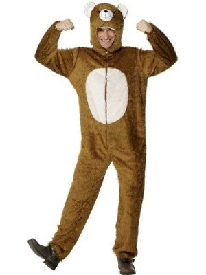 Men Animal Costumes (Adult's Bear Costume Animal Fancy Dress Unisex Ladies Mens Funny)