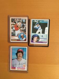 assorted hockey cards +3 baseball cards