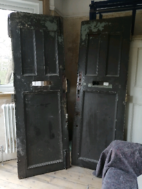 Victorian tall solid wood double front external doors