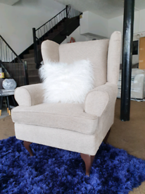 NEW Grey Beige Wing Back Armchair DELIVERY AVAILABLE