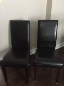 For sale 6 brown faux leather dining room chairs