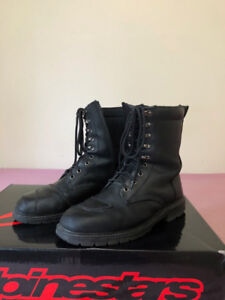 Motorcycle riding leather boots, black, size 11