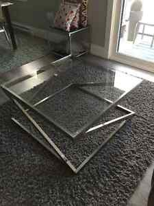 """""""MUST GO TODAY"""" GLASS TOP WITH CHROME BASE COFFEE TABLE"""