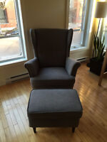 Strandmon chair and footstool