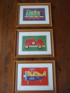 3 Framed Prints - Car, Plane & Train